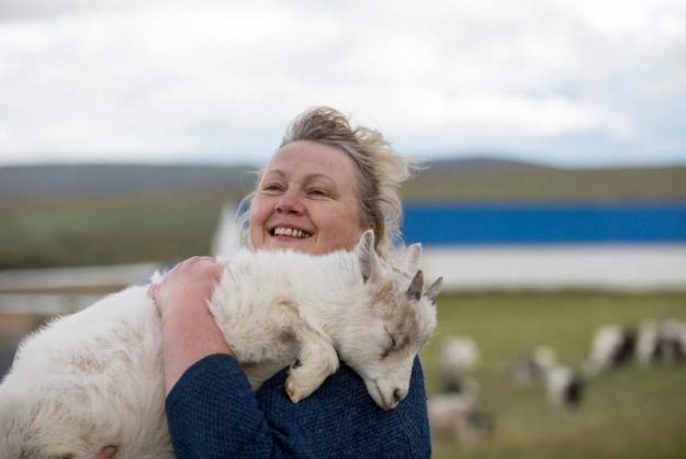 Jóhanna Bergmann Þorvaldsdóttir with an Icelandic Goat