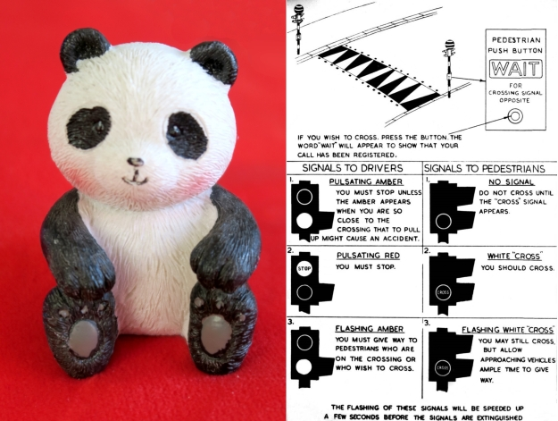 A Panda not crossing, with details of a Panda Crossing
